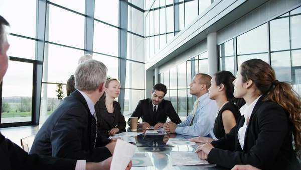 A confident and attractive business team of mixed ages and ethnicity are holding a meeting in a light, modern office building. They are discussing ideas for their business development. Royalty-free stock video
