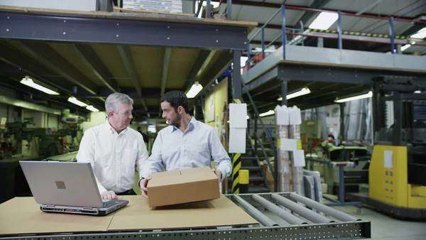 A team of workers in a warehouse or factory are going about their business and preparing goods for delivery. One male staff member is checking the inventory on a laptop computer. Royalty-free stock video
