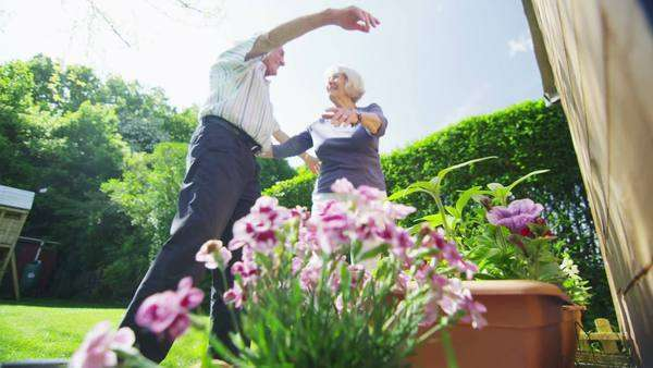 Happy retired couple embrace and high five in their garden on a summer day. In slow motion. Royalty-free stock video