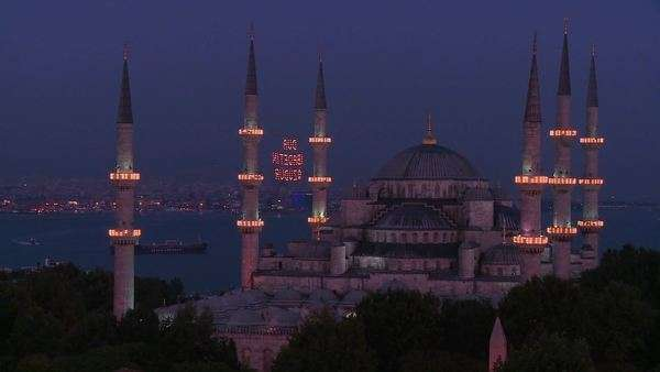 Nighttime at the Blue Mosque, Istanbul, Turkey. Royalty-free stock video