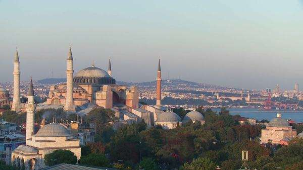 The Hagia Sophia Mosque in Istanbul, Turkey, at dusk. Royalty-free stock video