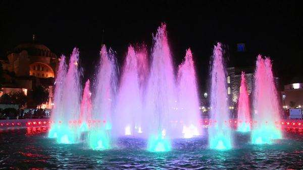 Colorful fountains in Istanbul, Turkey at dusk or night. Royalty-free stock video