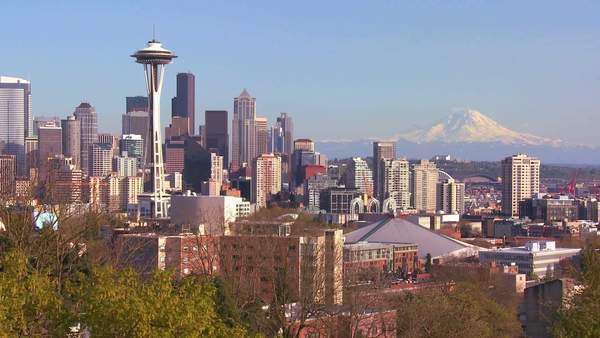 An establishing shot of Seattle with the Space Needle. Royalty-free stock video