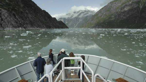 Point of view timelapse of a ship cruising down Tracy Arm in Tracy Arm - Wilderness, Alaska. Royalty-free stock video