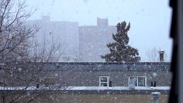 Snow falling on a city neighborhood Royalty-free stock video