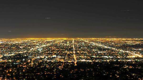 Timelapse of downtown Los Angeles city grid at night Royalty-free stock video