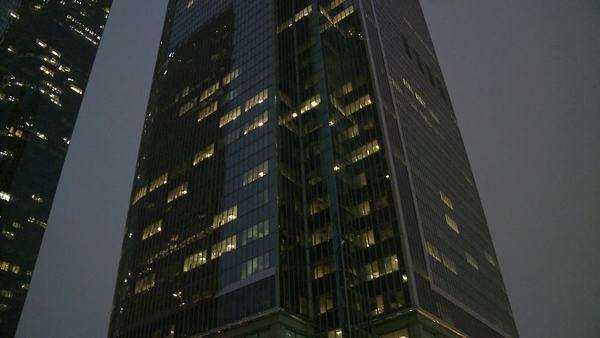 Pan of Building at night downtown Los Angeles Royalty-free stock video
