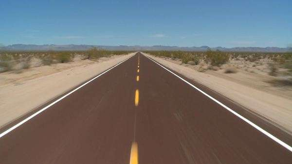 Speeding Down Abandoned Desert Road in Mojave National Park Royalty-free stock video