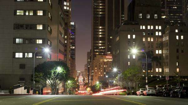 Timelapse of traffic at night in downtown Los Angeles Royalty-free stock video