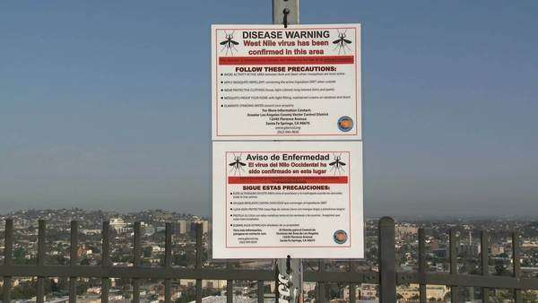 West Nile Warning Sign in Los Angeles, California Royalty-free stock video