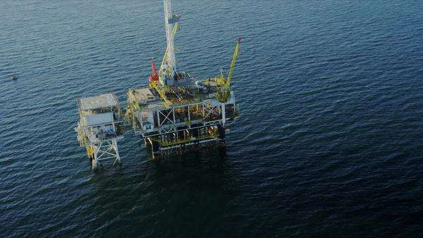 Aerial view of working oil rig deep water production platform, America, USA Royalty-free stock video
