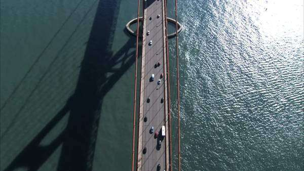 Aerial view of traffic on Golden Gate Bridge, San Francisco, USA Royalty-free stock video