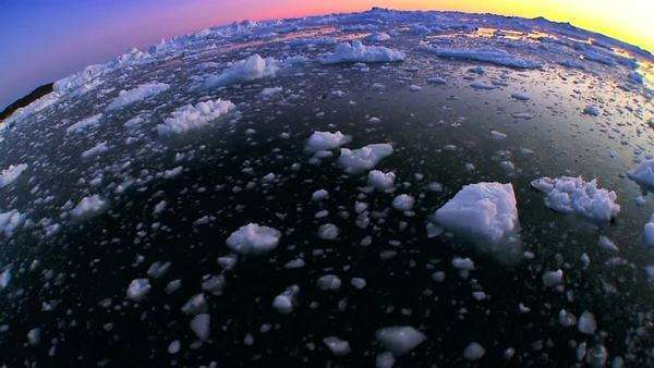 Sunset over floating arctic ice floes seen in wide angle Royalty-free stock video
