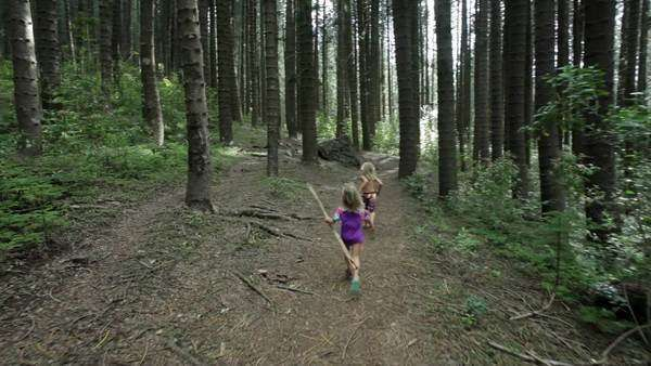 Two children running down forest pathway. Royalty-free stock video