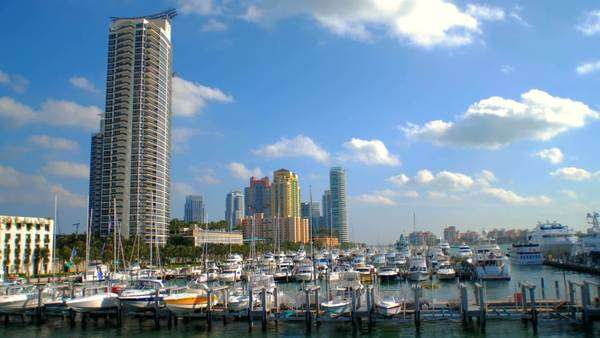 Timelapse of a harbor in Miami. Royalty-free stock video