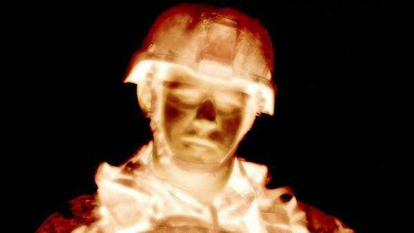 Static negative shot of soldier looking at camera. Green Beret United States Army Special Forces. Royalty-free stock video