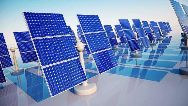 Animation of sunny solar panels in a solar power station Royalty-free stock video