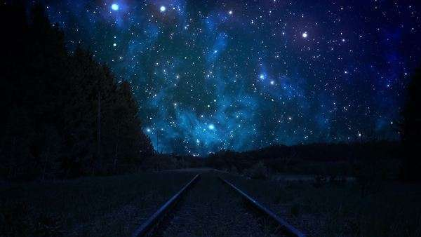 Night sky over rails Royalty-free stock video