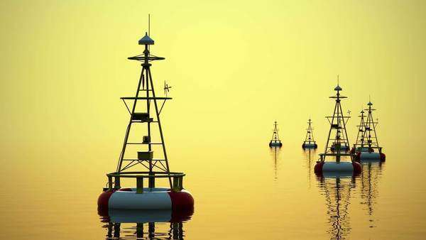 Time-lapse 3D animation of buoy during sunrise Royalty-free stock video