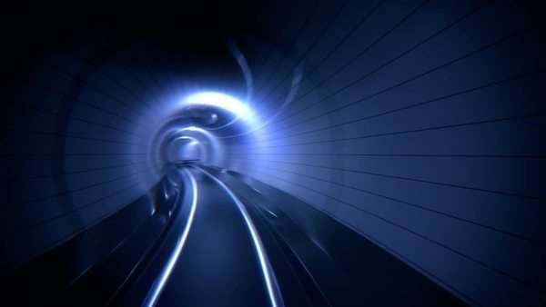 Loopable animation of riding through a big tunnel Royalty-free stock video