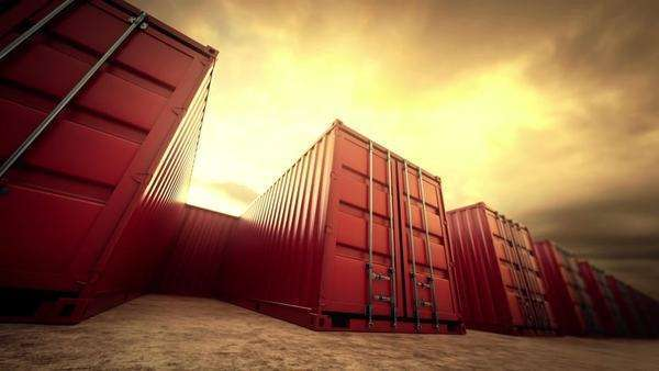 Picture of red containers in a row Royalty-free stock video