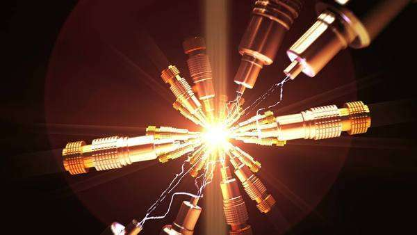 Spark between optical cables Royalty-free stock video