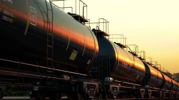 CG Animation of oil tank cars during sunset Royalty-free stock video