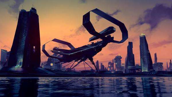 This animation presents a view of a futuristic city skyline Royalty-free stock video