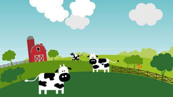 Aliens shoot a cow during a sunny day on the farm Royalty-free stock video