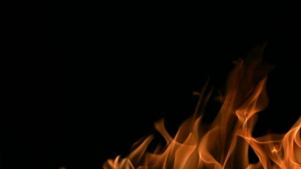 Flames ignite on black background, slow motion Royalty-free stock video