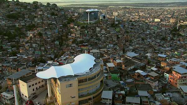 Aerial shot of gondola over favela,  Rio de Janeiro, Brazil Royalty-free stock video