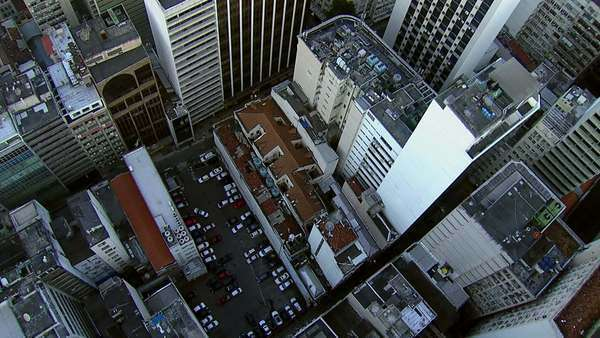 Flying directly over city buildings, Rio de rio de janeiro Royalty-free stock video