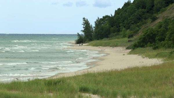 Long lens view of a beach on Lake Michigan, USA. Royalty-free stock video