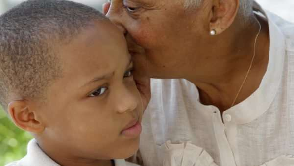 African American grandmother with grandson Royalty-free stock video