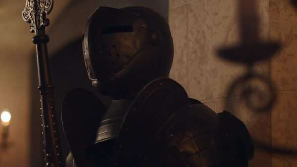 Close up shot of knight armor standing in hallway Royalty-free stock video