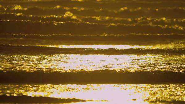 Peaceful scenic view of light from a golden sunset shining over gentle ocean waves shot on RED EPIC. Royalty-free stock video