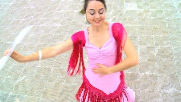 Elevated view of traditional Spanish flamenco dancer in Seville, Spain 60FPS. Royalty-free stock video