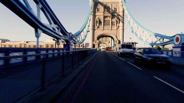 Point of view driving on Tower Bridge road in early morning city traffic. Royalty-free stock video