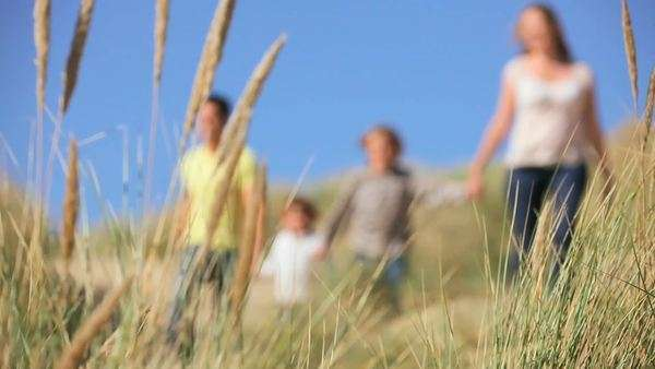 Attractive young Caucasian family enjoying leisure time together on coastal sand dunes. Royalty-free stock video