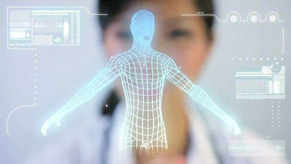 DNA touchscreen graphic technology being accessed by asian medical researcher in a modern hospital laboratory. Royalty-free stock video