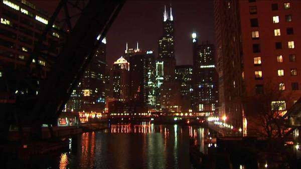 A beautiful night shot of Chicago's downtown buildings from across the water. Royalty-free stock video