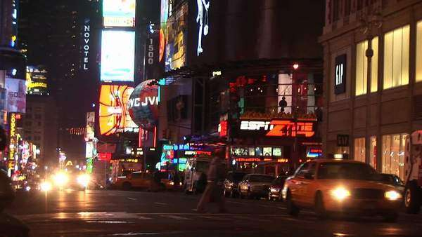 A wonderful view of downtown New York at night with traffic and advertising lights everywhere. Royalty-free stock video