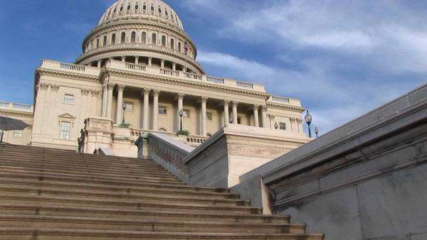 Looking up steps of the landmark U.S. Capitol building in Washington, D.C. Royalty-free stock video