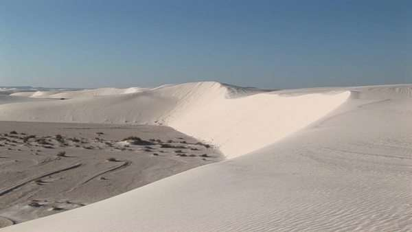 Long-shot of a sand dune at White Sands National Monument in New Mexico. Royalty-free stock video