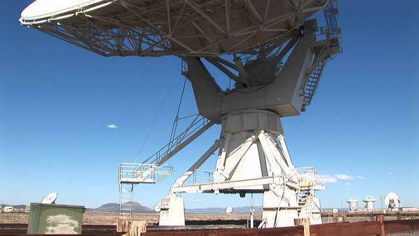 Pan-up of a satellite-dish at the National Radio Astronomy Observatory in New Mexico. Royalty-free stock video