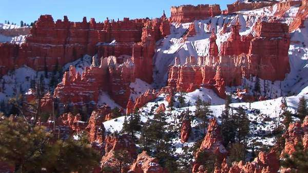 Wide shot of Bryce Canyon National Park with hoodoos covered by winter snow. Royalty-free stock video