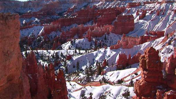 Wide shot of snow covered Claron formations in Bryce Canyon National Park. Royalty-free stock video