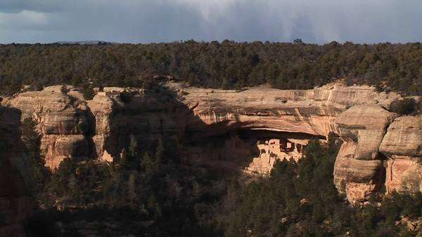 Medium-shot of Native American cliff dwellings in Mesa Verde National Park, Colorado. Royalty-free stock video