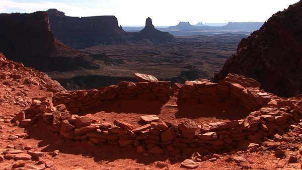 Medium shot of an ancient Indian campground in Canyonlands National Park. Royalty-free stock video