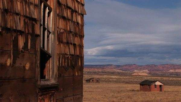 Close-up of an abandoned house sitting on a Utah prairie. Royalty-free stock video